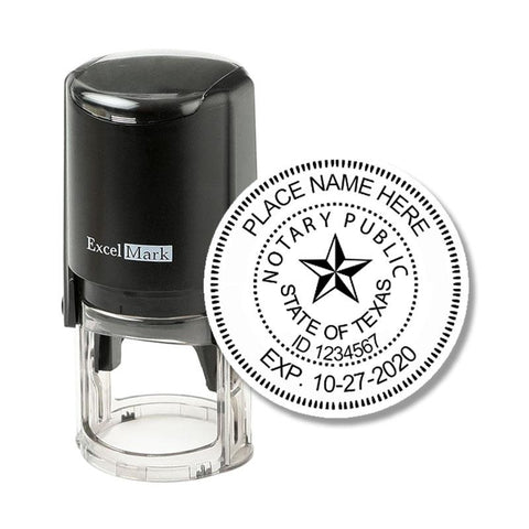 Round Self-Inking Texas Notary Stamp