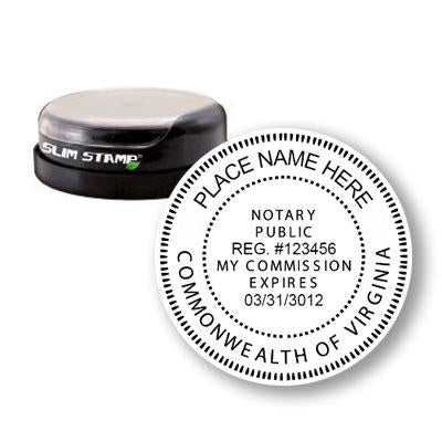 Round Slim Virginia Notary Stamp