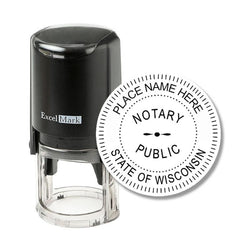 Round Self-Inking Wisconsin Notary Stamp