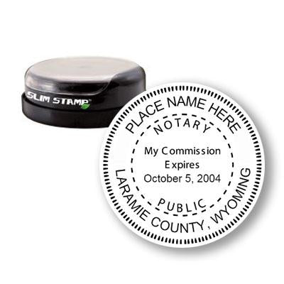 Round Slim Wyoming Notary Stamp