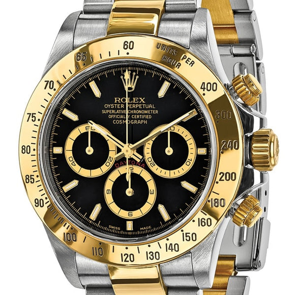 Certified Pre-owned Mens Rolex Daytona 18k Yellow Gold and Steel Chronograph Watch