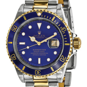 Certified Pre-Owned Rolex Men's Steel and 18 Karat Yellow Gold Submariner Blue Dial Watch | Overstock.com Shopping - The Best Deals on Pre-Owned Rolex Men's Watches