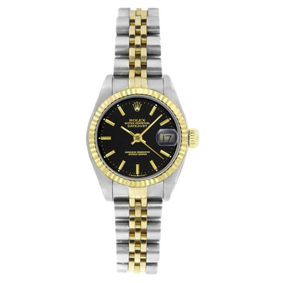 Pre-Owned Rolex Women's 6917 Datejust Two-tone Black DIal Stick Watch