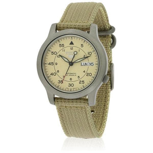 Seiko Men's SNK803 Automatic Beige Dial Beige Canvas Watch | Overstock.com Shopping - The Best Deals on Seiko Men's Watches