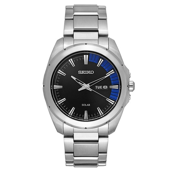 Seiko Men's SNE415 Recraft Series Black Stainless Steel Solar Quartz Watch | Overstock.com Shopping - The Best Deals on Seiko Men's Watches