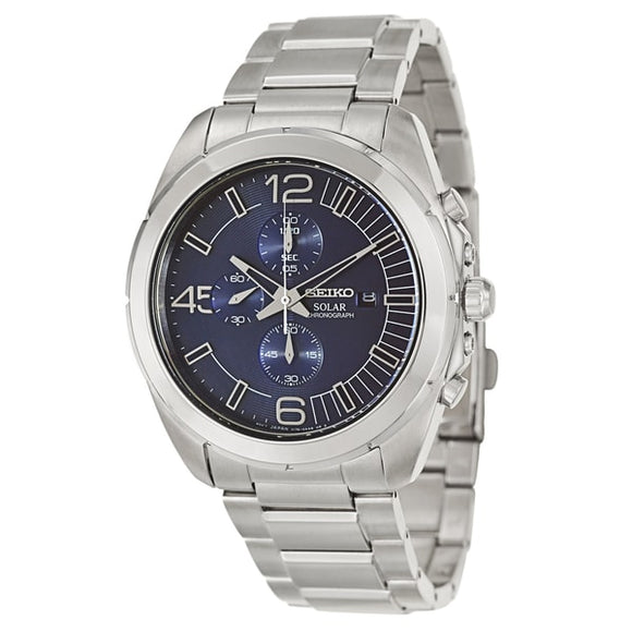 Seiko Men's SSC201 'Core' Stainless Steel Navy Chronograph Watch | Overstock.com Shopping - The Best Deals on Seiko Men's Watches