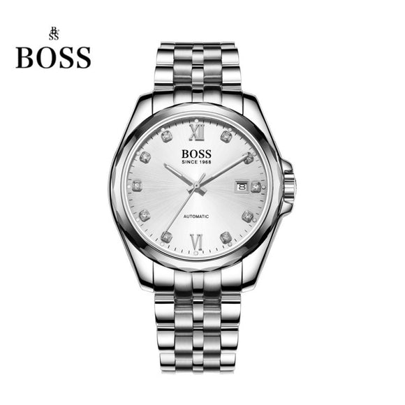 BOSS Germany watches men luxury brand dayjust 21 jewels MIYOTA CO. JAPAN automatic self-wind mechanical white stainless steel