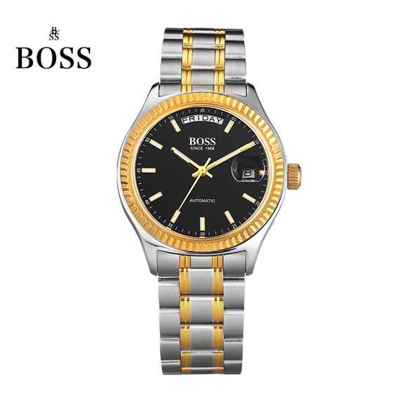 BOSS Germany watches men luxury brand daydate series automatic self-wind mechanical black stainless steel relogio masculino