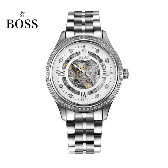 BOSS Germany watches men luxury brand diamond skeleton automatic mechanical watch hollow stone stainless steel relogio masculino