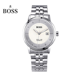 BOSS Germany watches men luxury brand Senator 21 jewels MIYOTA CO. JAPAN automatic self-wind mechanical black stainless steel