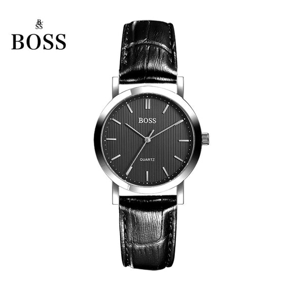 BOSS Germany watch women luxury brand ultra-thin Japan MIYOTA Movement couple lover watch belt female black Genuine Leather
