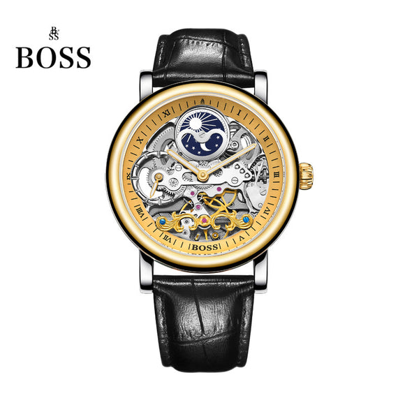 BOSS Germany watches men luxury brand skeleton moon phase automatic mechanical watch Earl Comte Graf series relogio masculino