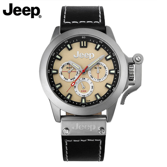 Jeep Original Men Watch Quartz Leather Band Luminous Watches Men's Casual Fashion Water Resistant Watches JP14204
