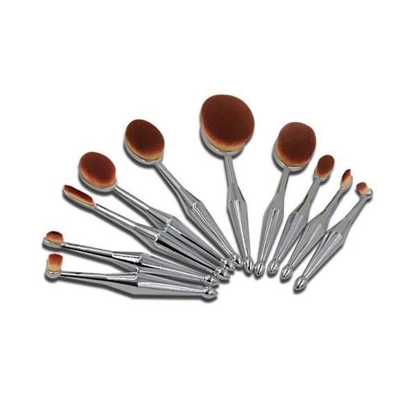 10 Piece Metallic Silver Oval Make Up Brush Set