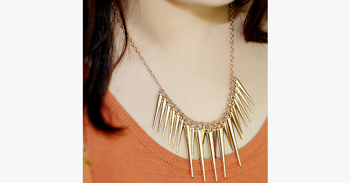 Gold Spike Statement Necklace - FREE SHIP DEALS