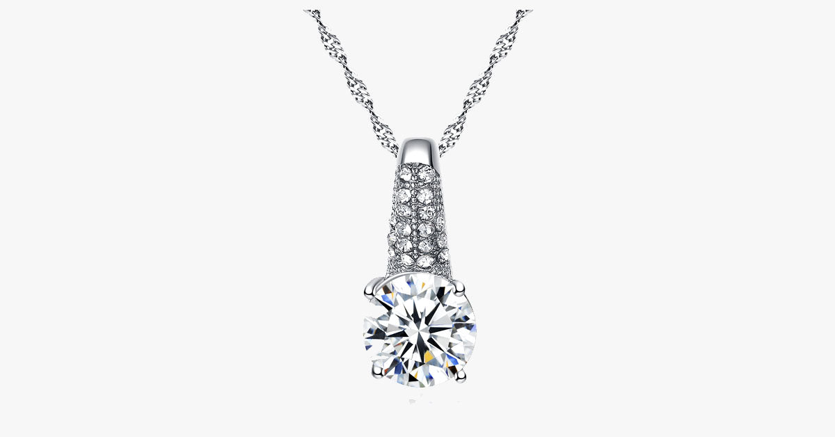 Cubic Zirconia Necklace Set With Earrings And Ring - FREE SHIP DEALS