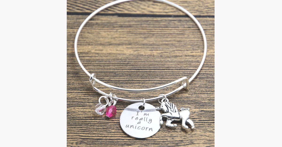 I'm Really A Unicorn Charm Bangle - FREE SHIP DEALS