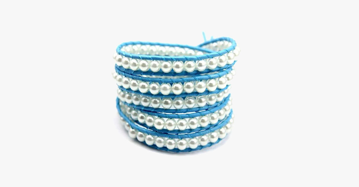 Blue Pearl Wrap Bracelet - FREE SHIP DEALS