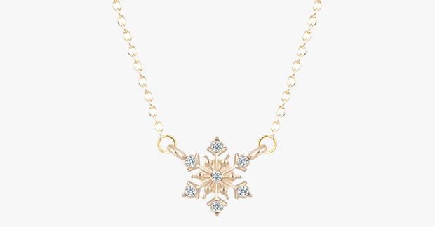 Unique Trend Crystal Snowflake Flower Pendant Necklace Set for Women – Silver, Gold
