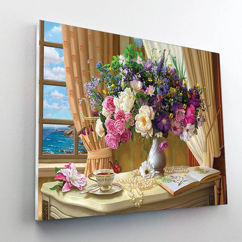 Paint By Numbers Kit - Flower Still Life Near the Window