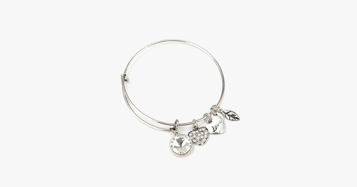 April Birthstone Charm Bangle - FREE SHIP DEALS