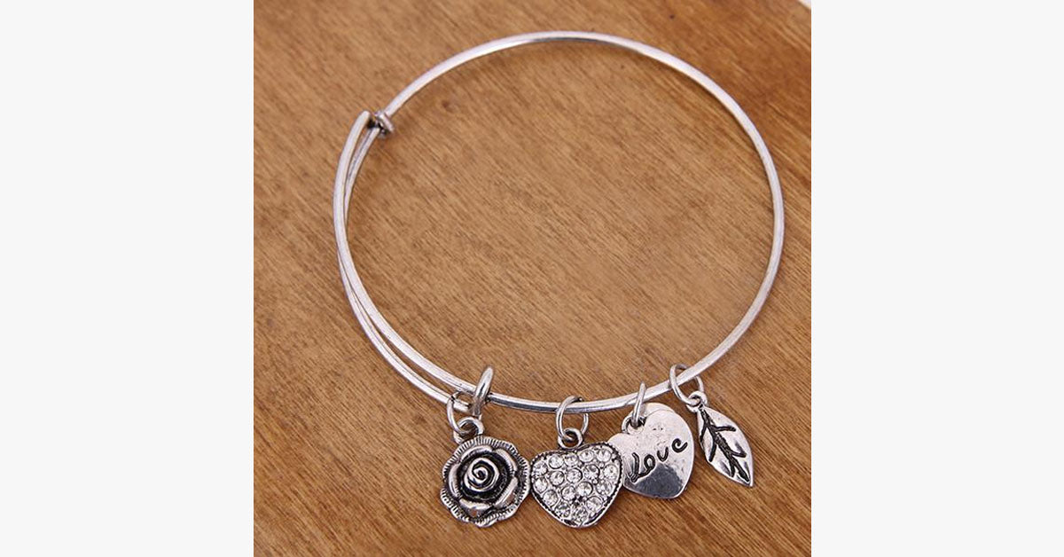 Rose Heart Charm Bangle