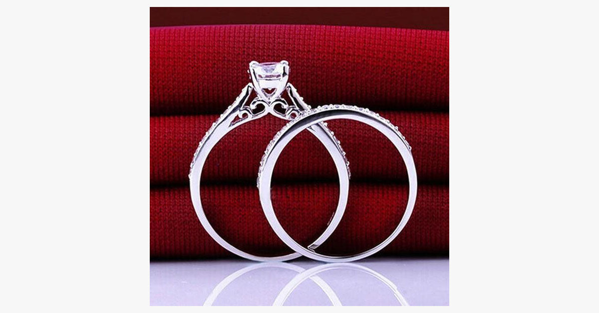 Charm Silver Crystal Couples Rings - FREE SHIP DEALS