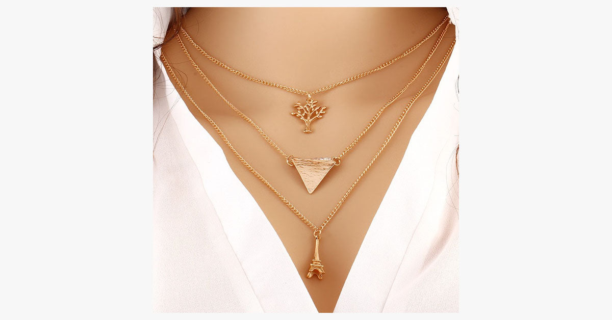 Eiffel Tower Triangle Bar Necklace - FREE SHIP DEALS