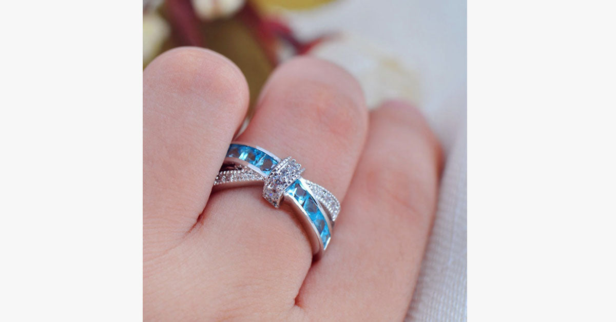 Aquamarine Sapphire Ring - FREE SHIP DEALS
