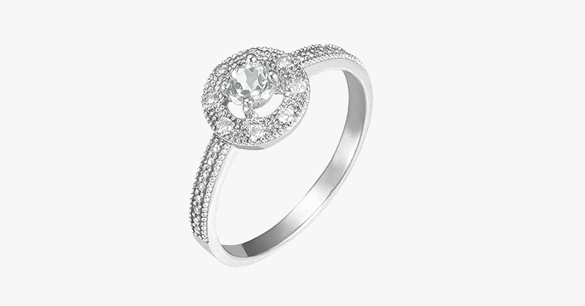Silver 1/3 CTW White Topaz Ring with Halo CZ Stones