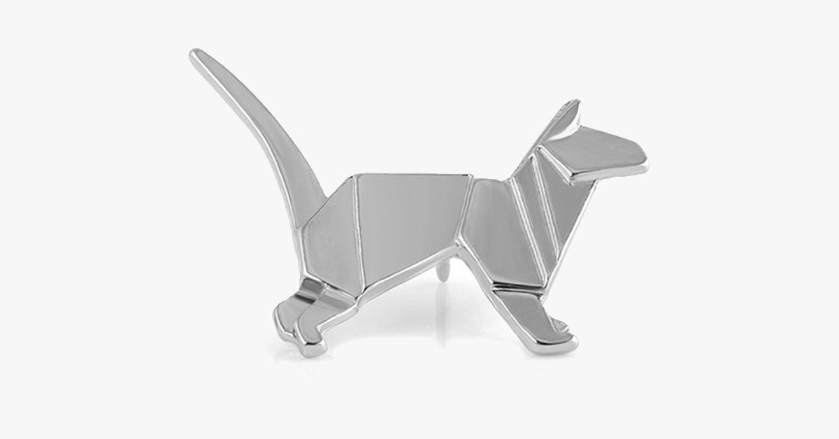 Silver Cat Origami Pin Free Ship Deals