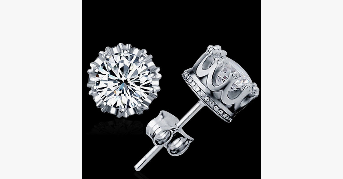 Silver Crown Earrings