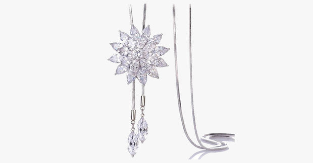 White Crystal Sunflower Tassel Long Necklace - FREE SHIP DEALS