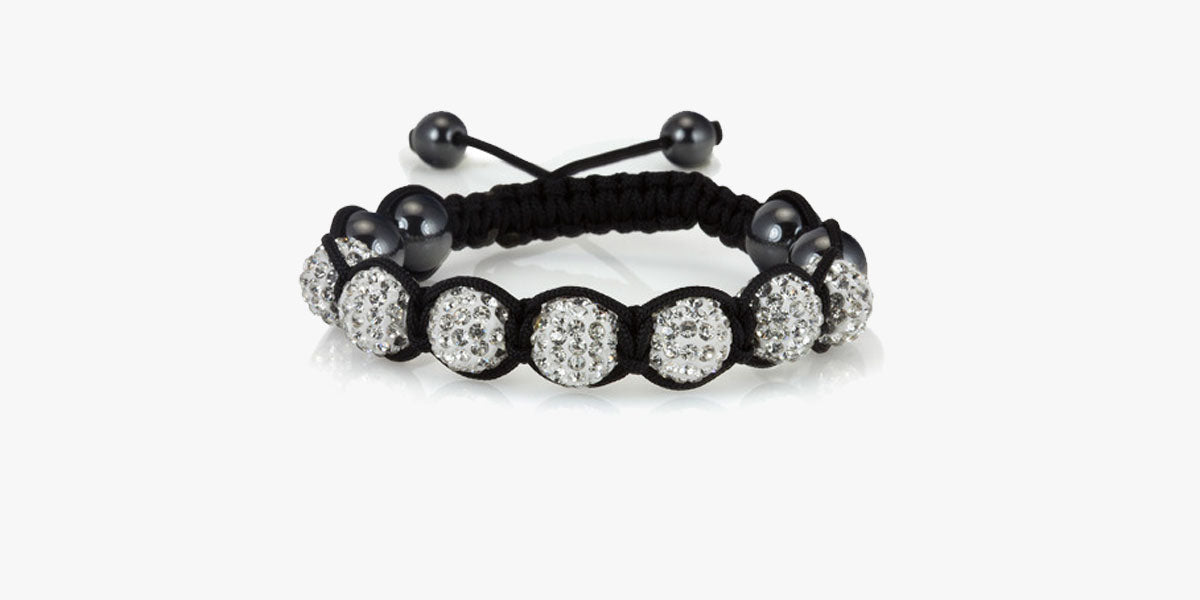 White Crystal Balla Style Adjustable Bracelet - FREE SHIP DEALS