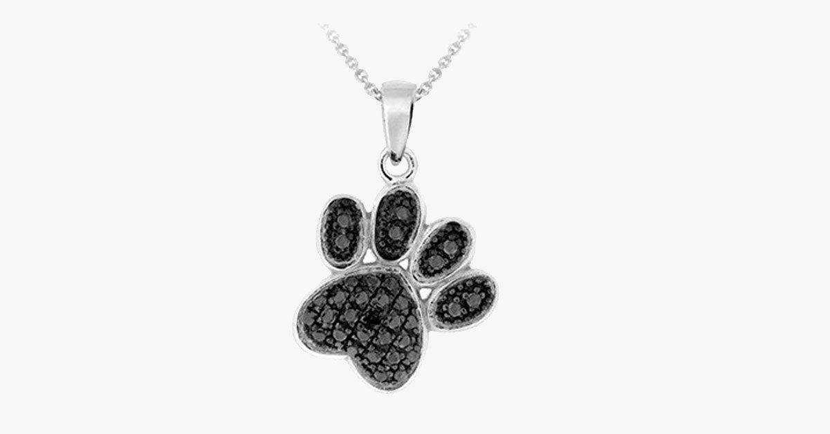 "Silver Overlay Black Diamond Accent Paw Print Pendant with 18"" Chain - FREE SHIP DEALS"