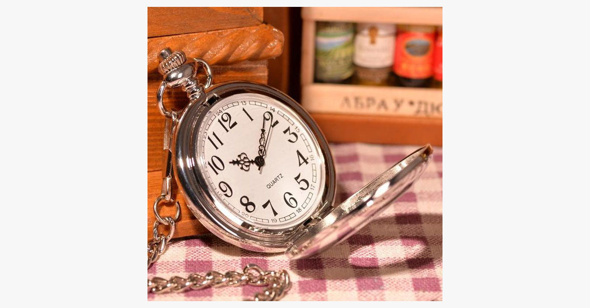 Elegant Silver Pocket Watch - FREE SHIP DEALS