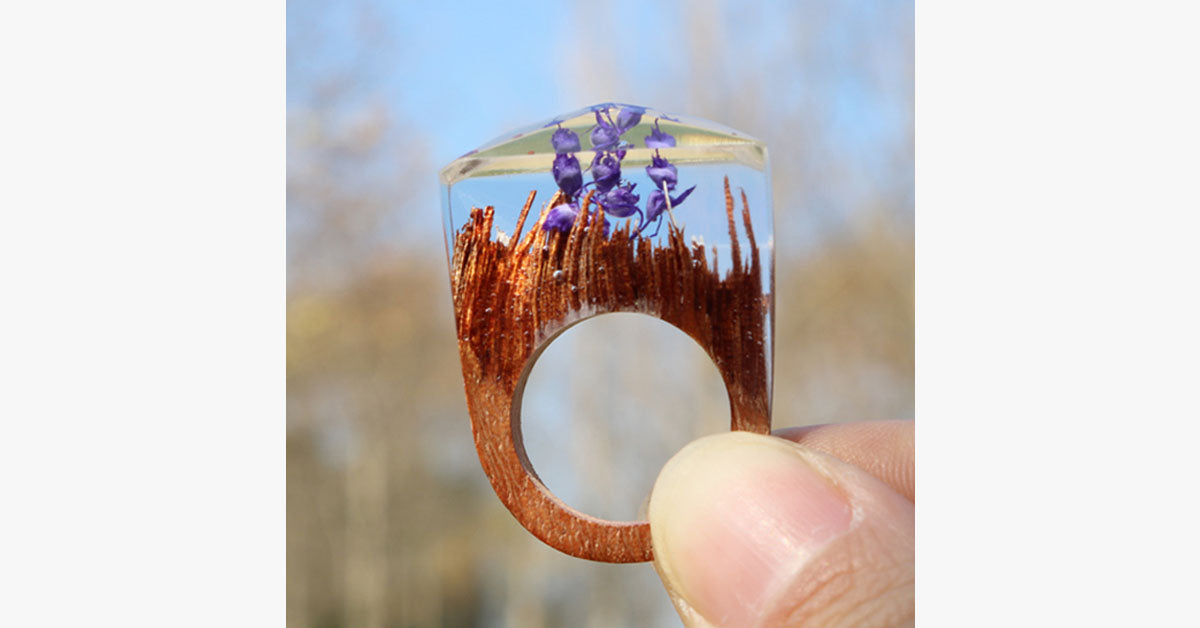 Purple Flower Wood Ring - FREE SHIP DEALS