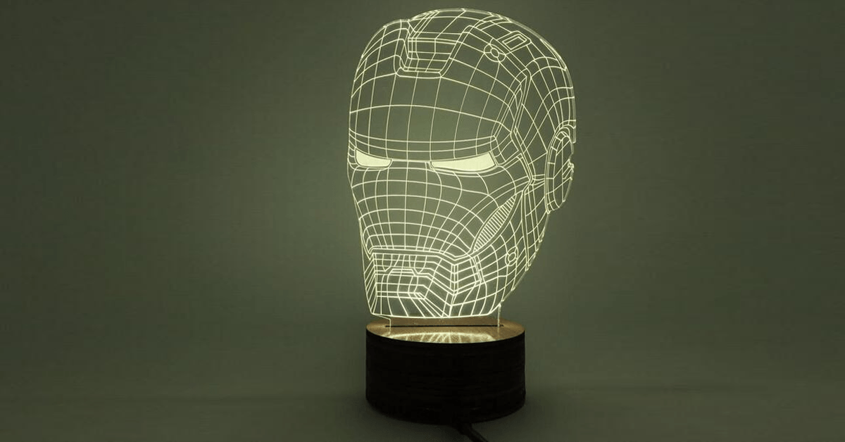 Marvel Inspired Iron Man Head Bust 3D Optical Illusion Lamp