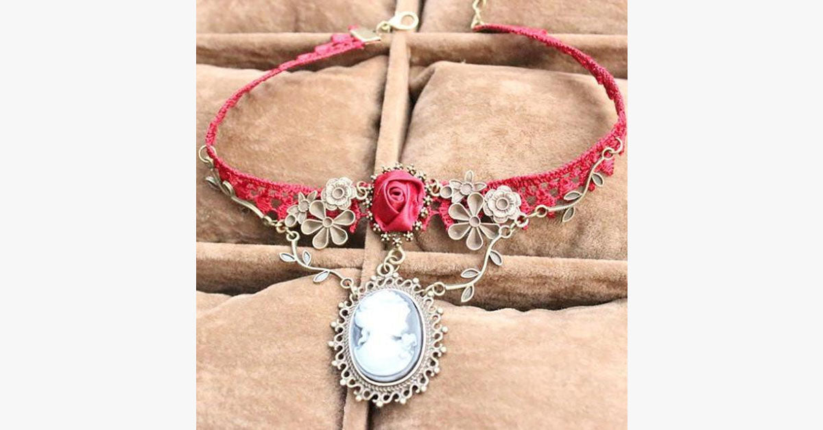 Red Lace Choker Necklace