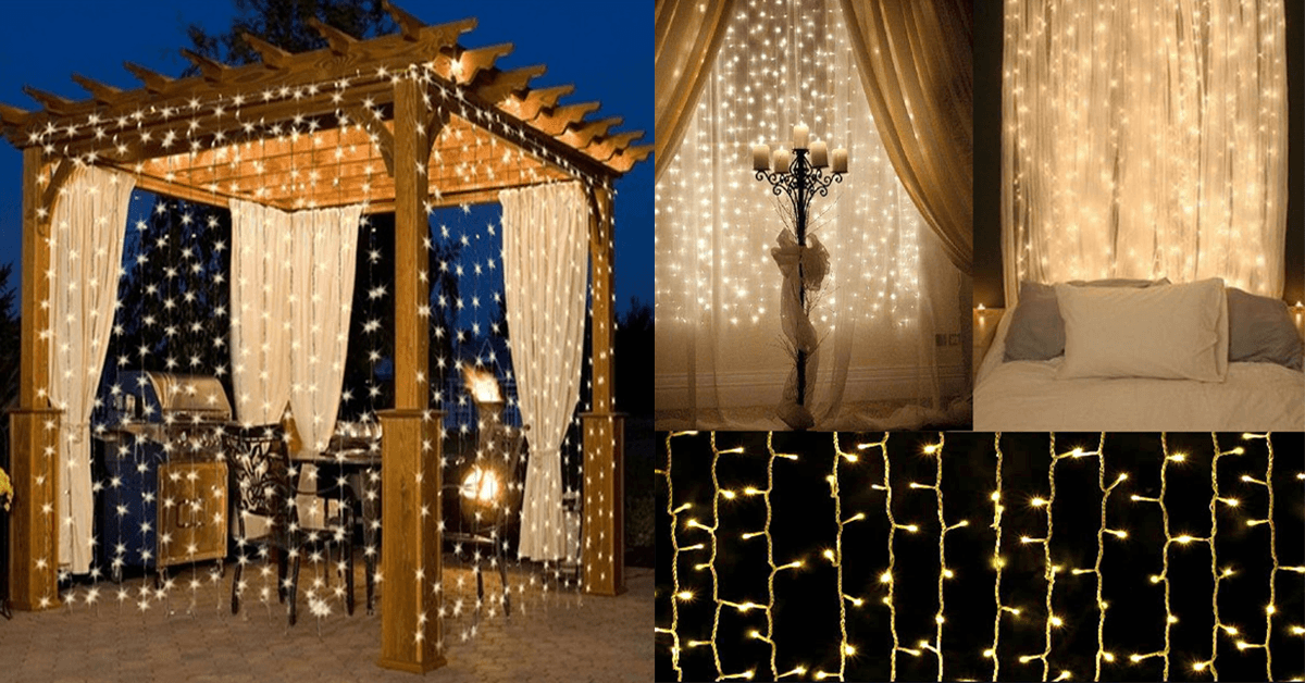10Ft. 300-LED Warm White String Curtain Lights - FREE SHIP DEALS