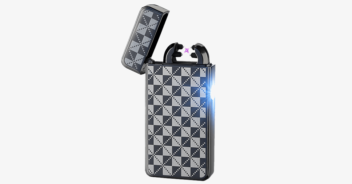 Black Checkered Rechargeable Windproof Lighter - FREE SHIP DEALS
