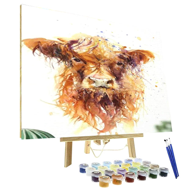 Paint By Numbers Kit - Highland Baby Cow