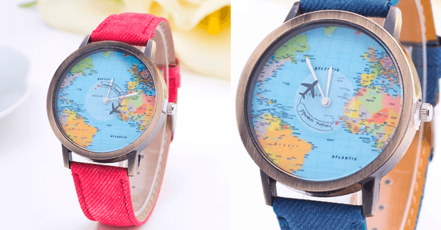 Unisex Watch Unique Design World Map Quartz Watch - FREE SHIP DEALS