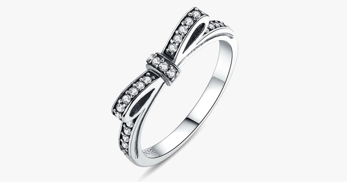 Silver Sparkling Bow Knot Stackable Ring - FREE SHIP DEALS