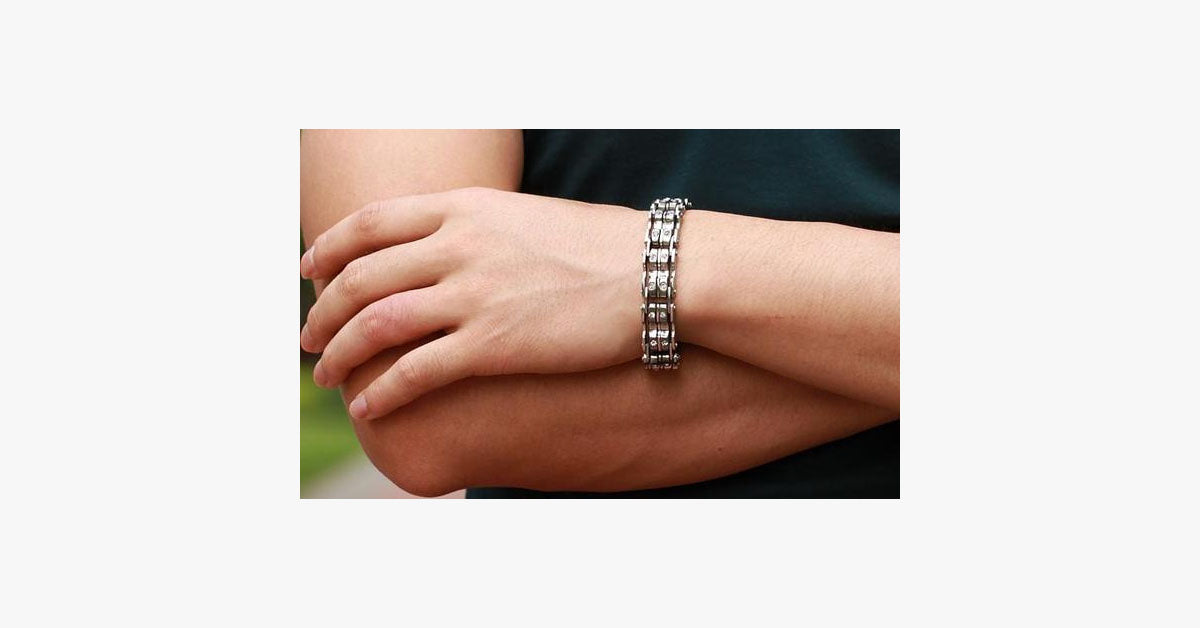 Clean CZ Diamond Stainless Steel Men's Bracelet - FREE SHIP DEALS