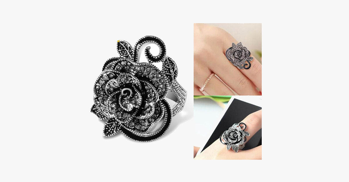 Black Rose Silver Plated Crystal Ring - FREE SHIP DEALS