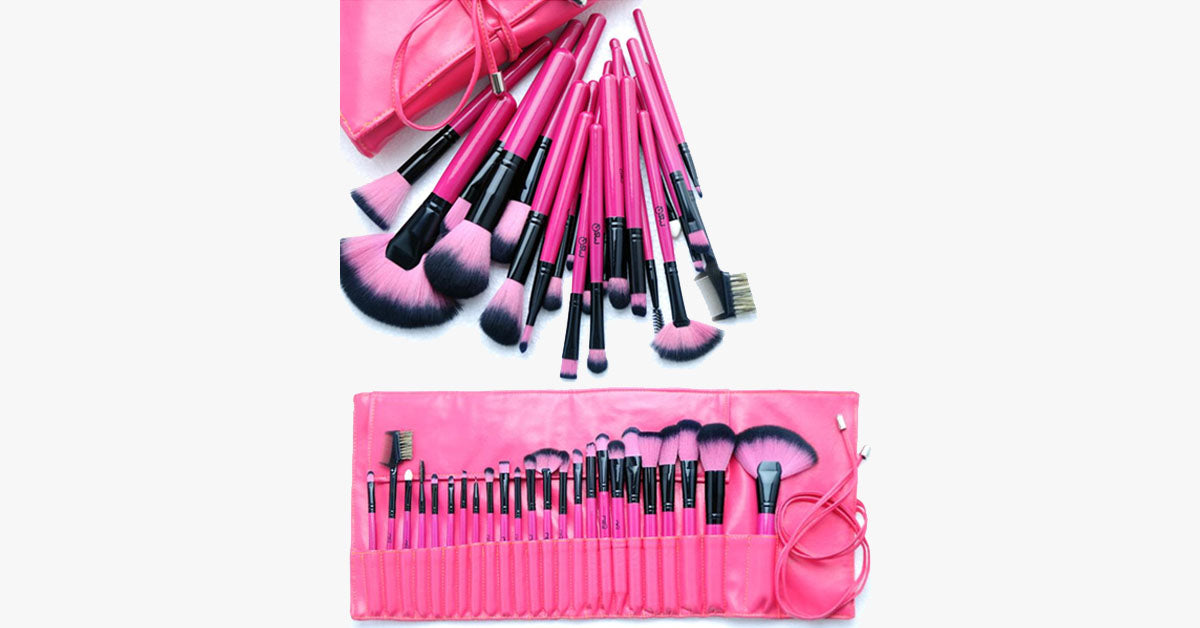 Hot Pink 24 Piece Make Up Brush Set - FREE SHIP DEALS