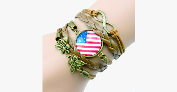 Handmade Vintage USA Flag Bracelet - FREE SHIP DEALS