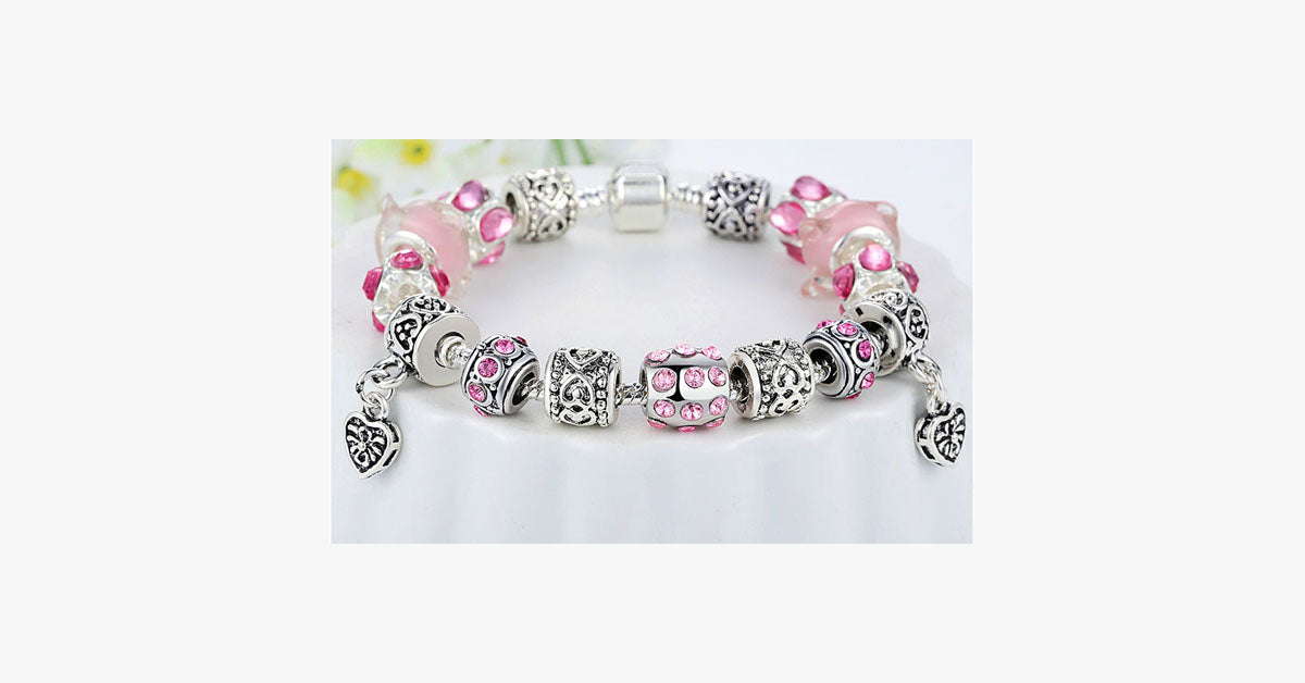 European Crystal Charm Bracelet - FREE SHIP DEALS