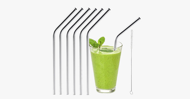 6pcs Reusable Stainless Steel Drinking Straws - FREE SHIP DEALS